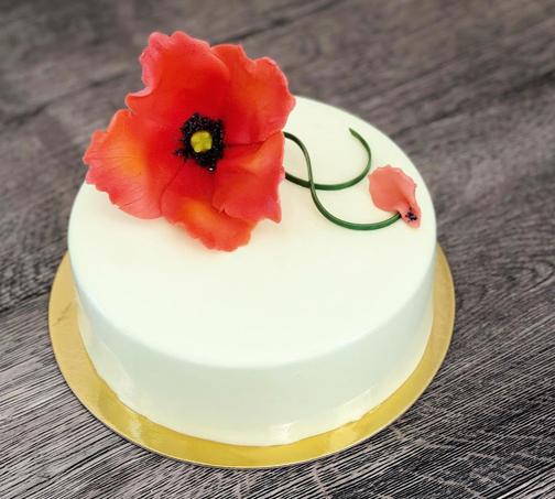 Strawberry Rhubarb Lemon Poppy Cake